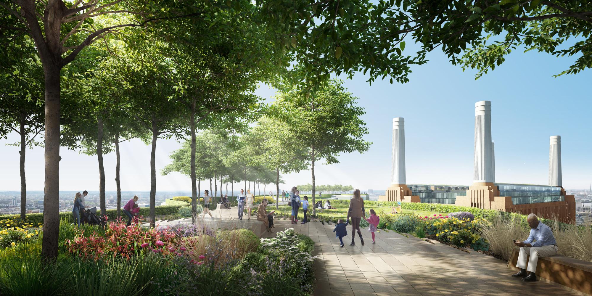 """""""Línea de Horizonte""""  Jardín en la azotea / Foster + Partners. Imágen cortesía de Central energética Battersea"""