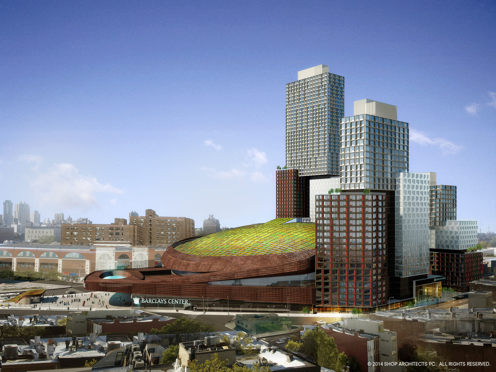 Barclays Center to be Topped with Massive Green Roof, © SHoP Architects
