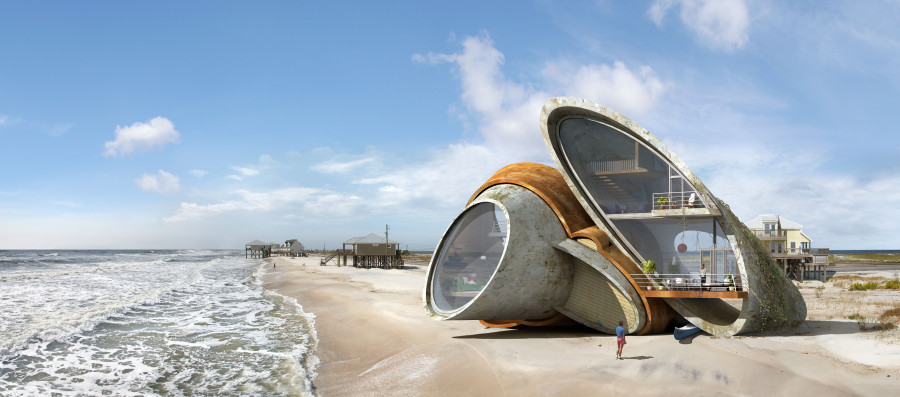 "Surreal Renderings of Disaster-Resistant Structures, Rendering by Dionisio González, for his series ""Dauphin Island"". Image Courtesy of The Huffington Post"