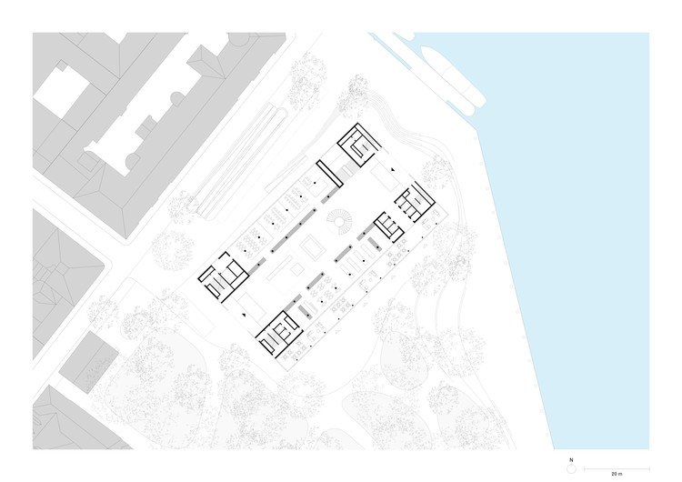 Site plan with ground floor (original scale 1:500). Image © David Chipperfield Architects