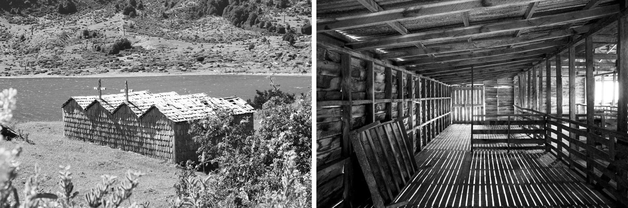 Casas Tumba - Lago Tranquilo - Region de Aysén (Izq.) y Galpon Esquila - Lago Escondido - Región de Magallanes (Der.). Image Courtesy of BBATS + TIRADO LTDA