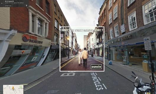 Clásicas Carátulas Musicales en Google Street View, (What's the Story) Morning Glory / Oasis. 1995 - Berwick Street en Londres. Image © The Guardian