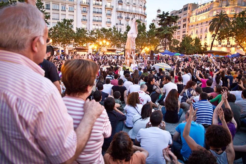 Movimiento 15M en Valencia, España. 2011. Image Cortesia de Wikipedia