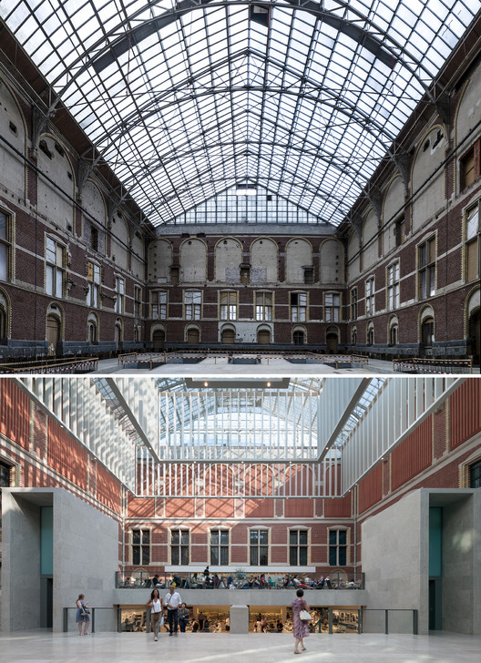 Atrium: before and after. Image Courtesy of Cruz y Ortiz Arquitectos