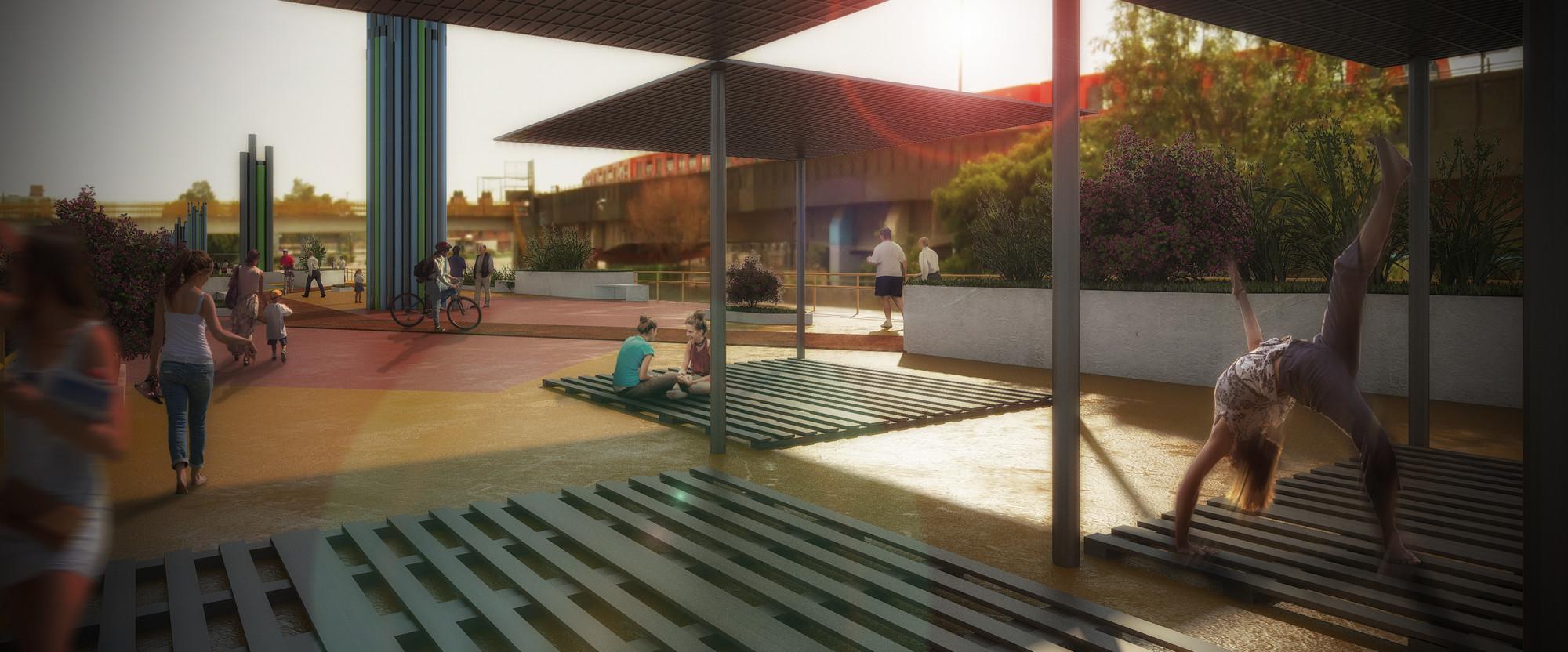 Vista desde Av. Río Churubusco y Calle Norte / © Victor Betanzos, Marcos Betanzos, Cinthia Meléndez Xochicale, Guillermo González, Alfredo González y Carlos Verón