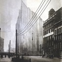 Mies van der Rohe, Friedrichstrasse Skyscraper project; Berlin, 1921-2, opaque version of photomontage. Image Courtesy of Bauhaus-Archiv Berlin, Photo: Markus Hawlik