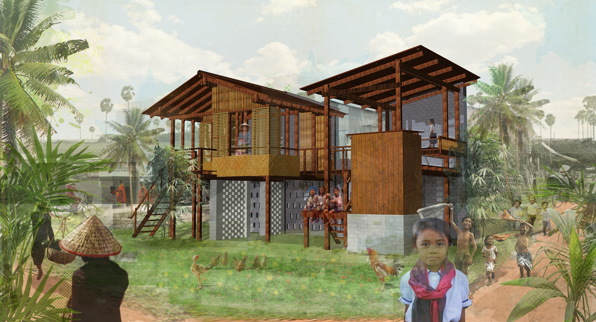 Building Trust International Constructs Sustainable Housing in Cambodia, Courtyard House render. Image Courtesy of Building Trust International