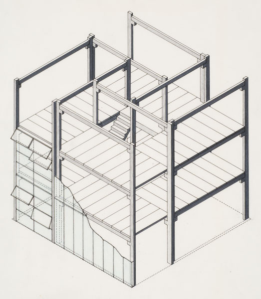 Stiff Dom-ino Housing, theoretical project (1951): cut-away axonometric view with hinged windows. Image Courtesy of Canadian Centre for Architecture