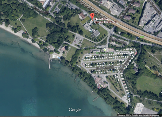Screenshot of the proposed site of the new IOC Headquarters in Lausanne, Switzerland.. Image © Google Earth