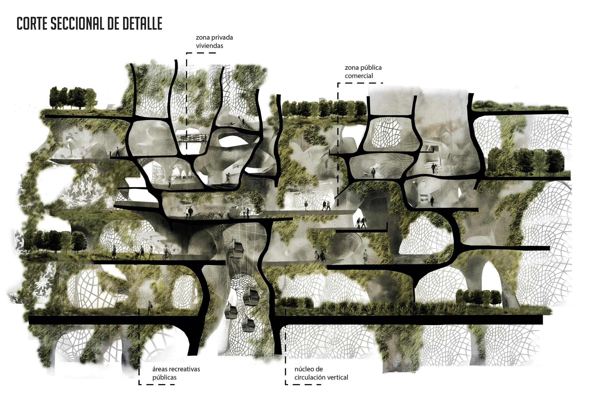 Corte seccional. Image Courtesy of Javiera Sepúlveda y Diego Espinosa
