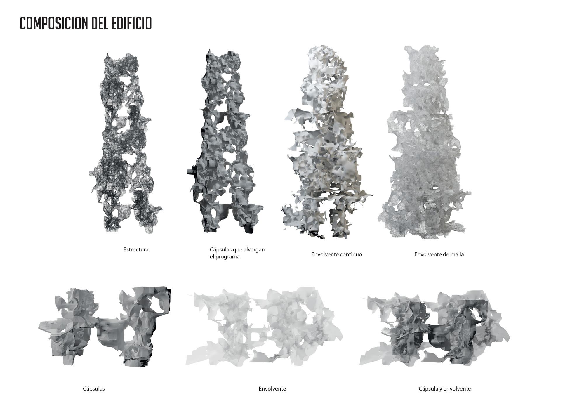 Composición del edificio. Image Courtesy of Javiera Sepúlveda y Diego Espinosa