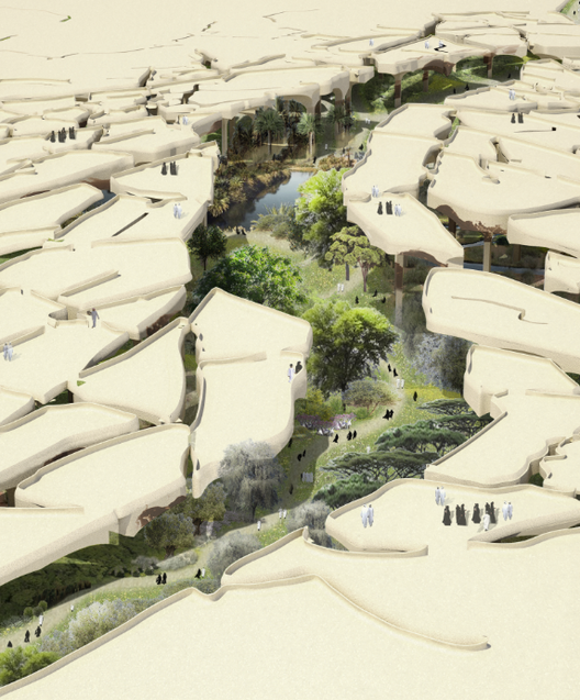 "Heatherwick Tapped to Design ""Sunken Oasis"" in Abu Dhabi, Fractured Desert . Image Courtesy of Heatherwick Studio"