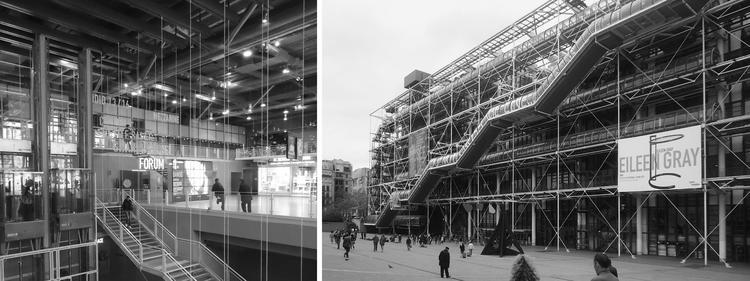 Centre Georges Pompidou, por Renzo Piano y Richard Rogers. Sus diferentes sistemas mecánicos quedan expuestos para ser entendidos por los transeúntes y para liberar al máximo el espacio interior. Image © José Tomás Franco