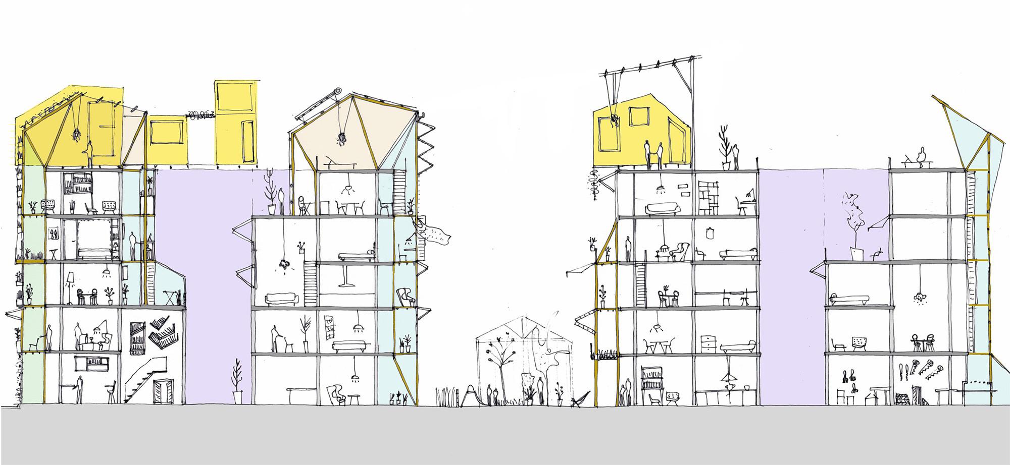 Las adiciones y modificaciones interiores derivan en un edificio con una mayor variedad de espacios. Imagen Cortesía de Improvistos Nunca Vistos (María Tula García Méndez & Gonzalo Navarrete Mancebo)