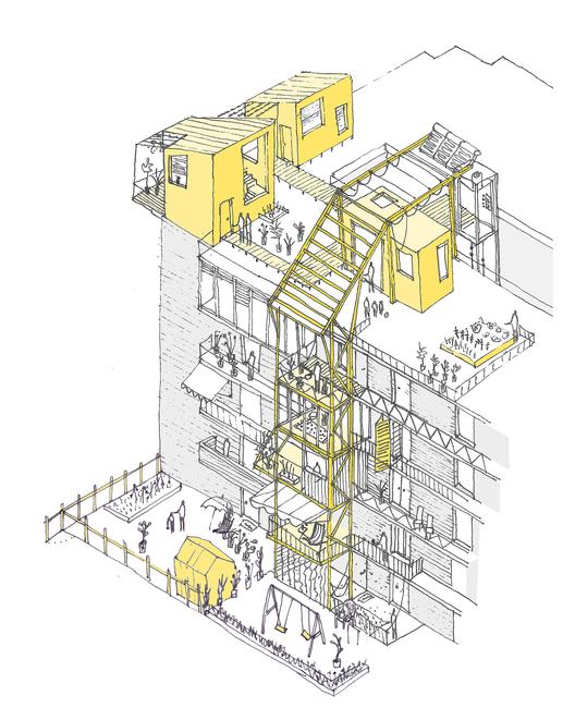 En Valencia, el bloque residencial es alterado por adiciones temporales. Imagen Cortesía de Improvistos Nunca Vistos (María Tula García Méndez & Gonzalo Navarrete Mancebo)