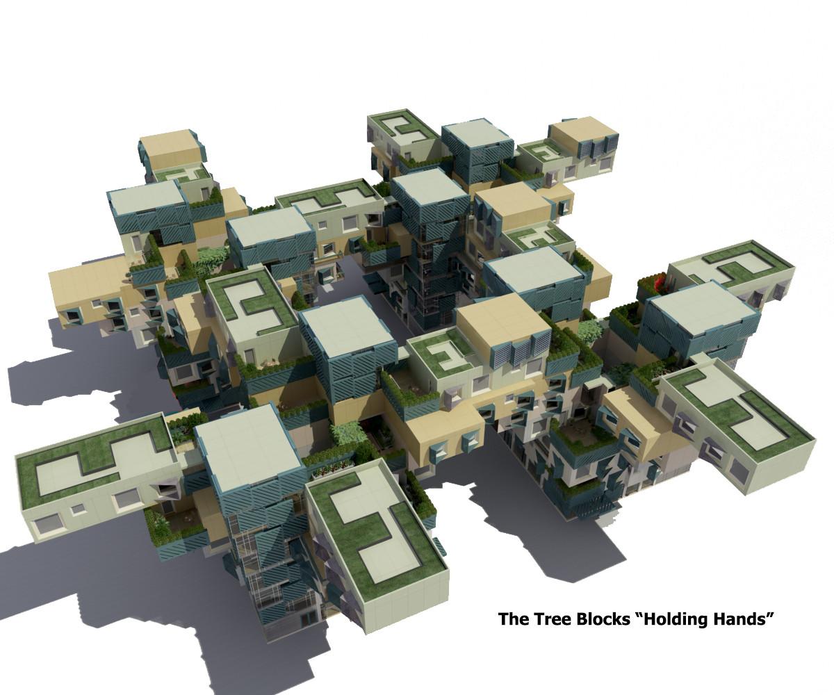 Cada bloque de la propuesta para Homs se conecta con su vecindario por sobre la carretera. Imagen Cortesía de Render (Marwa Al-Sabouni & Khaled Komee)