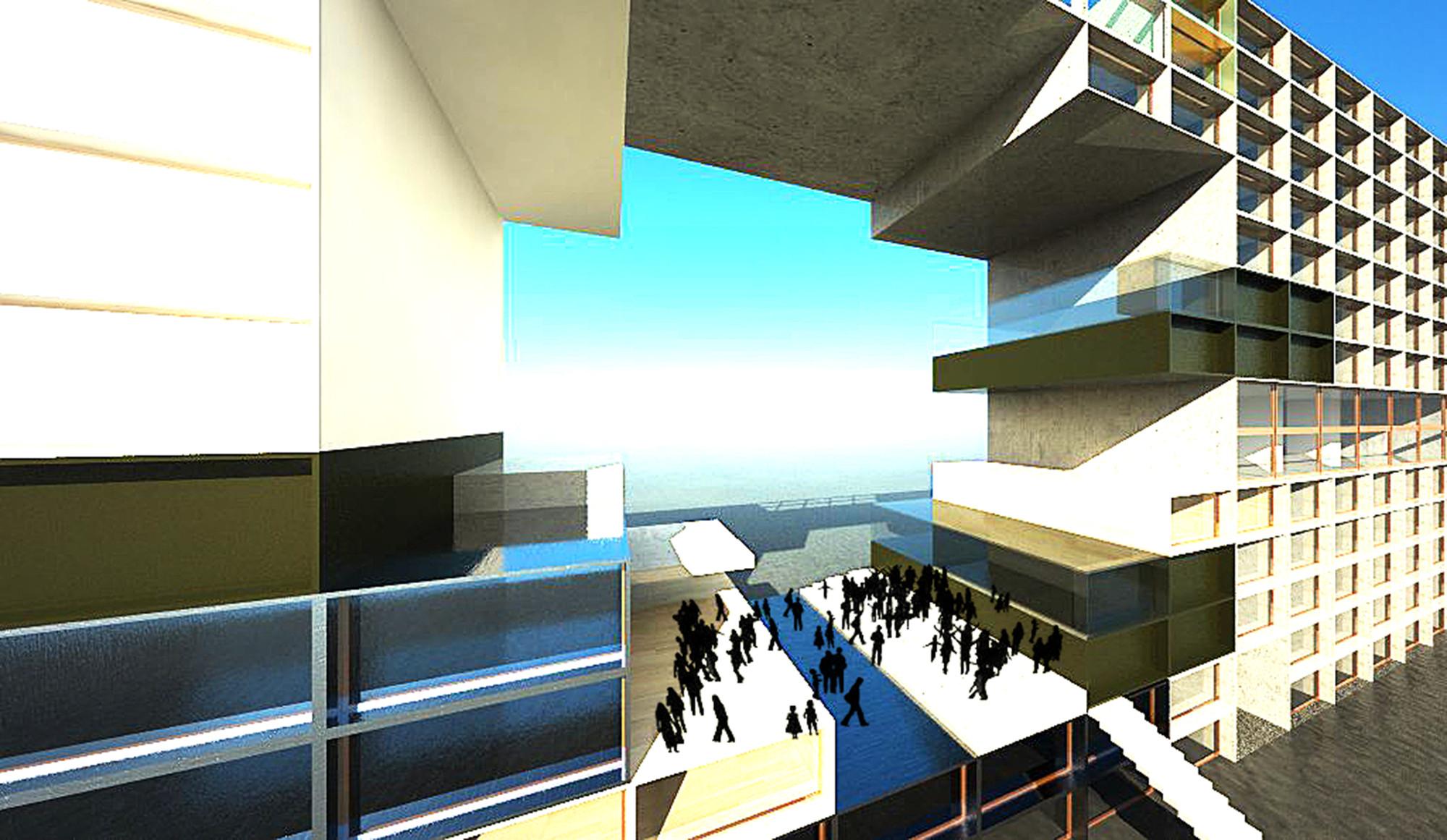 Ahuecando el centro del edificio se crea un nuevo espacio público en Lyon. Imagen Cortesía de 3B2 (Alexandre Carpentier, Pauline Michaud & Dimtri Katsampalos)