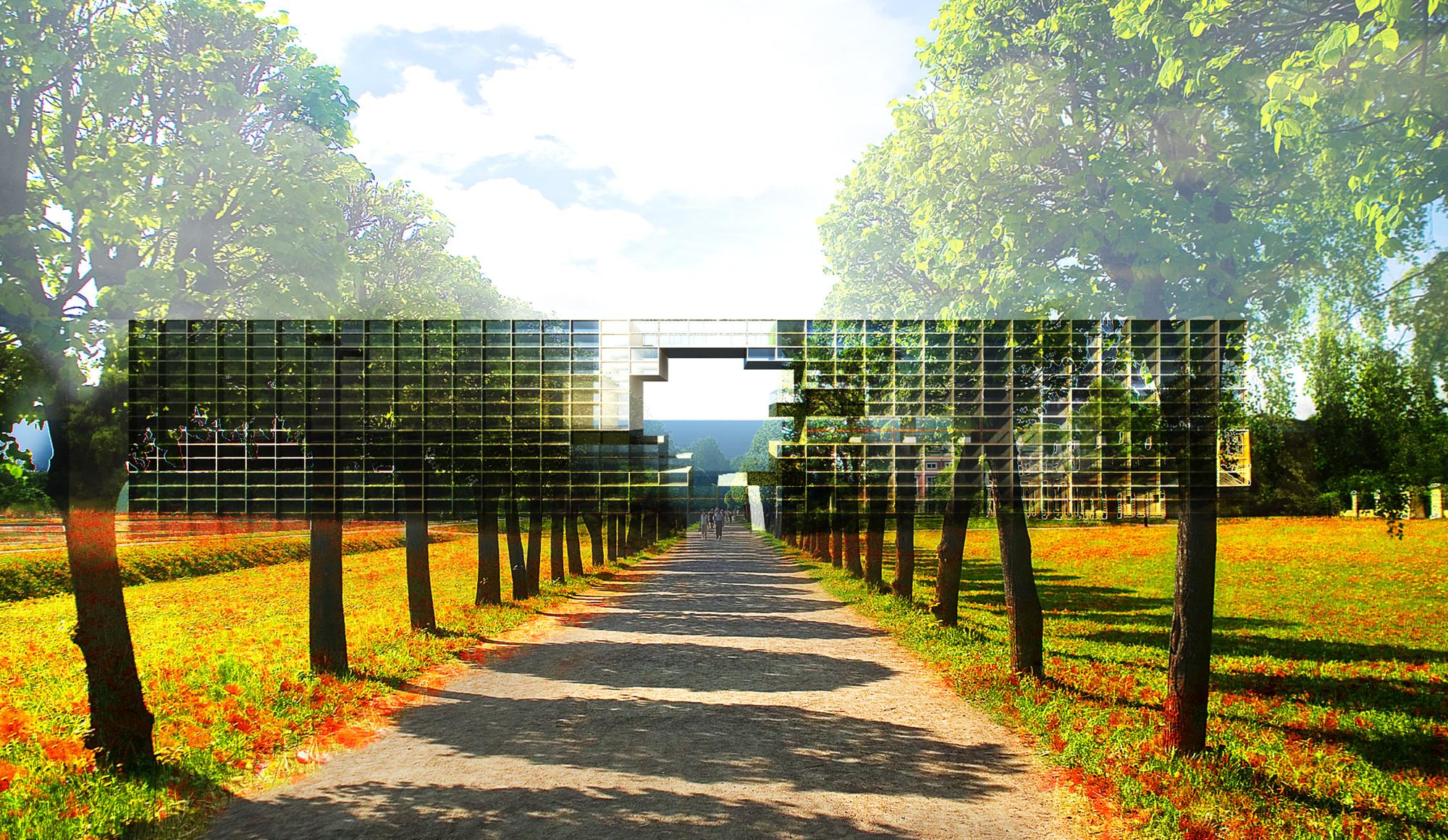 La ruta entre los edificios se convierte en una entrada clave al barrio. Imagen Cortesía de 3B2 (Alexandre Carpentier, Pauline Michaud & Dimtri Katsampalos)