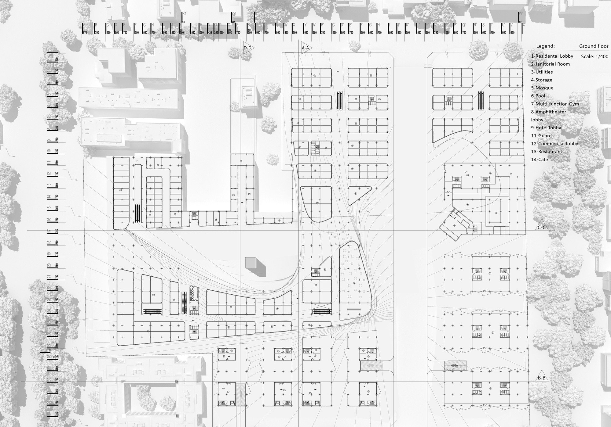 gallery of caat studio propose large scale commercial centre in ground floor plan