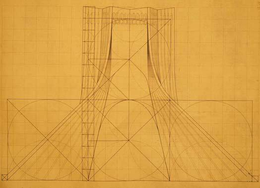 Torre Azadi por Hoseein Amanat. Cortesía de drawingarchitecture.tumblr.com/