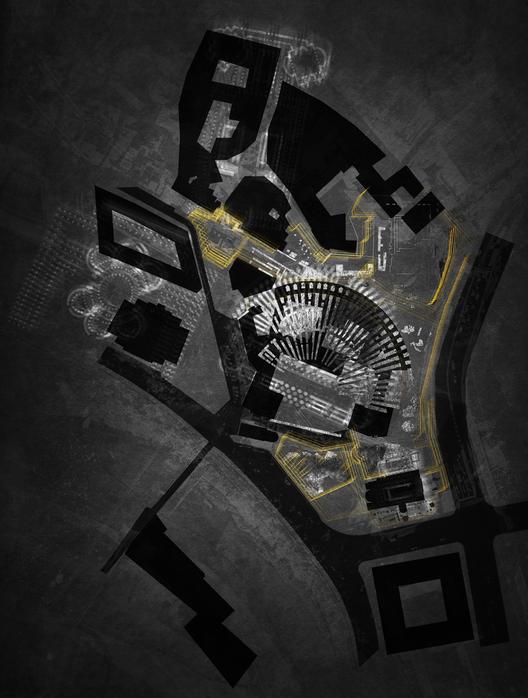 Conectando capas con un tejido intermedio (delaminación de la área central de Roma) por Adam Kelly. Cortesía de drawingarchitecture.tumblr.com/