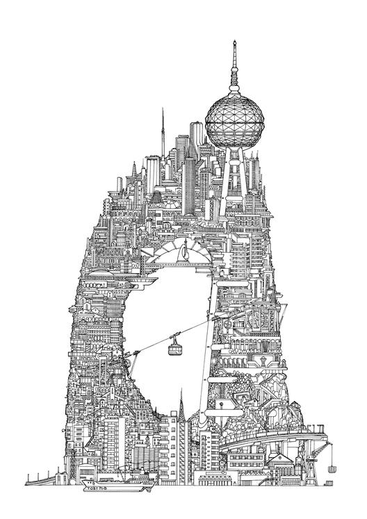 Arco de favela de la Serie Torres por Toby Melville-Brown. Cortesía de drawingarchitecture.tumblr.com/
