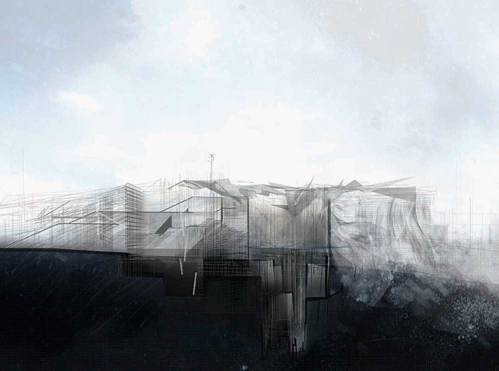 House at Gallions Reach by Gillian Lambert. Image Courtesy of drawingarchitecture.tumblr.com/