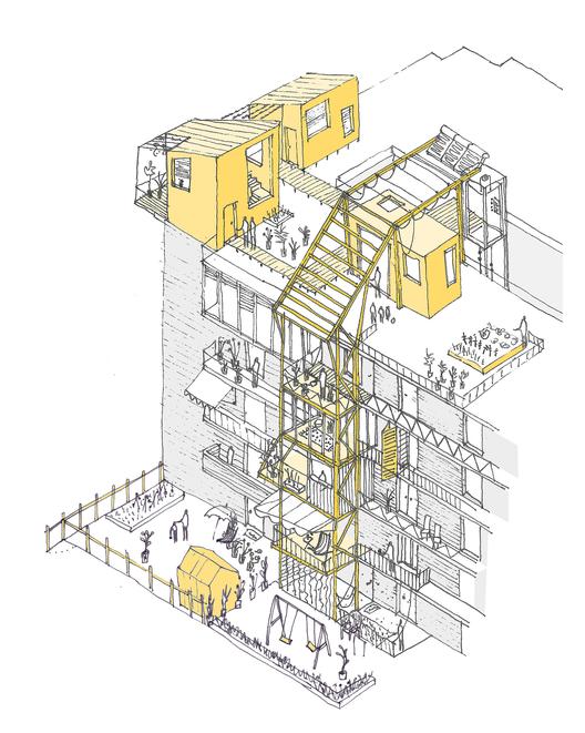 Primer Lugar de la Competición Internacional 'Urban Revitalization of Mass Housing' de ONU-Habitat / Valencia, España, Exterior. Image Courtesy of Equipo Improvistos
