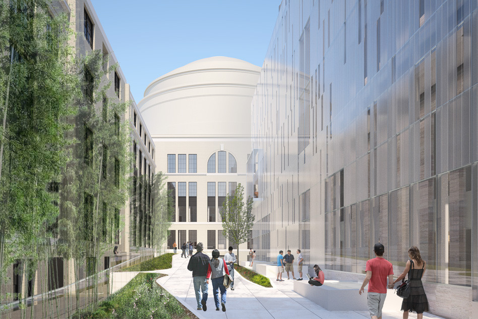 Courtyard between MIT.nano and Building 4 looking west from Building 8 toward the Great Dome. Image © Wilson Architects Inc.