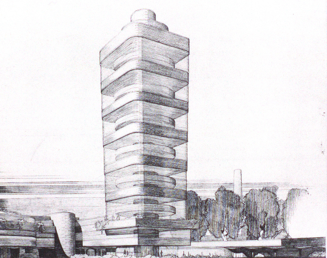 Preliminary perspective view in which tower tapers towards the base