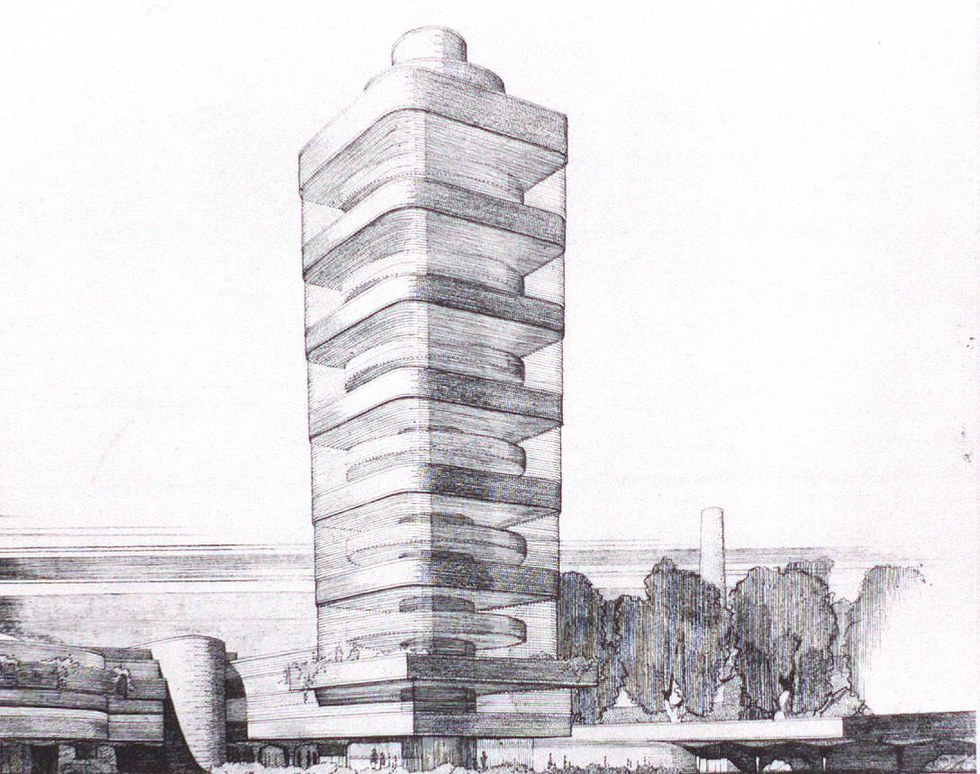 Vista en perspectiva preliminar en la que la torre se estrecha hacia la base.