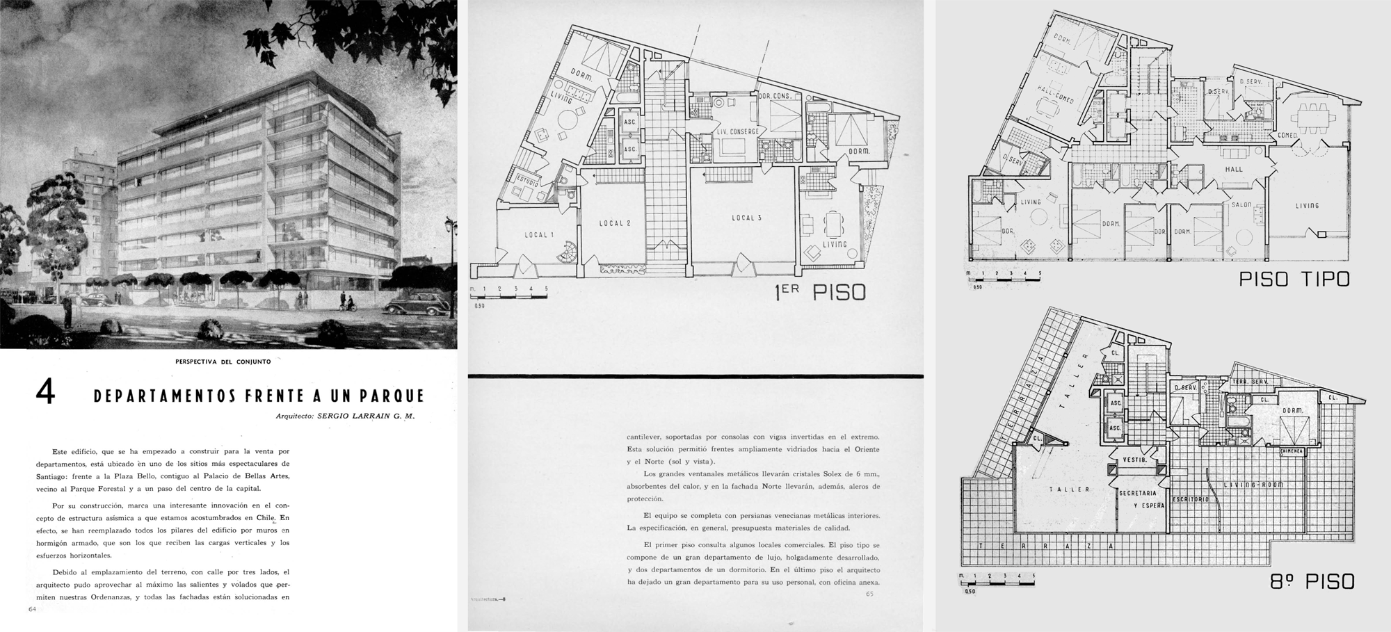 """Iconografía del caso """"Departamentos frente a un parque"""". Arquitectura y Construcción Nº 2, pp.64-66"""