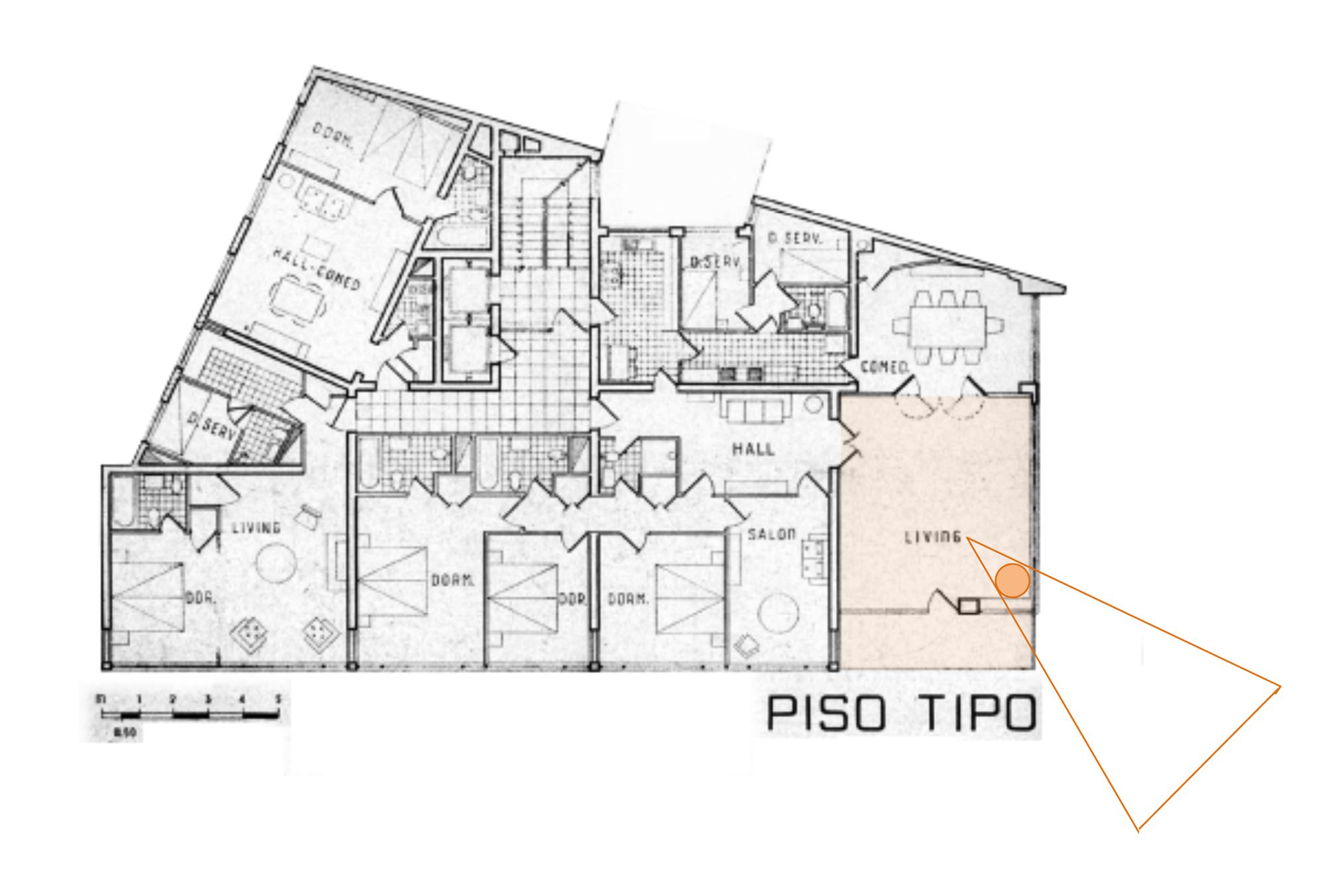 Infografía sobre planta tipo (intervenida por los autores). Arquitectura y Construcción Nº 2, p.66.