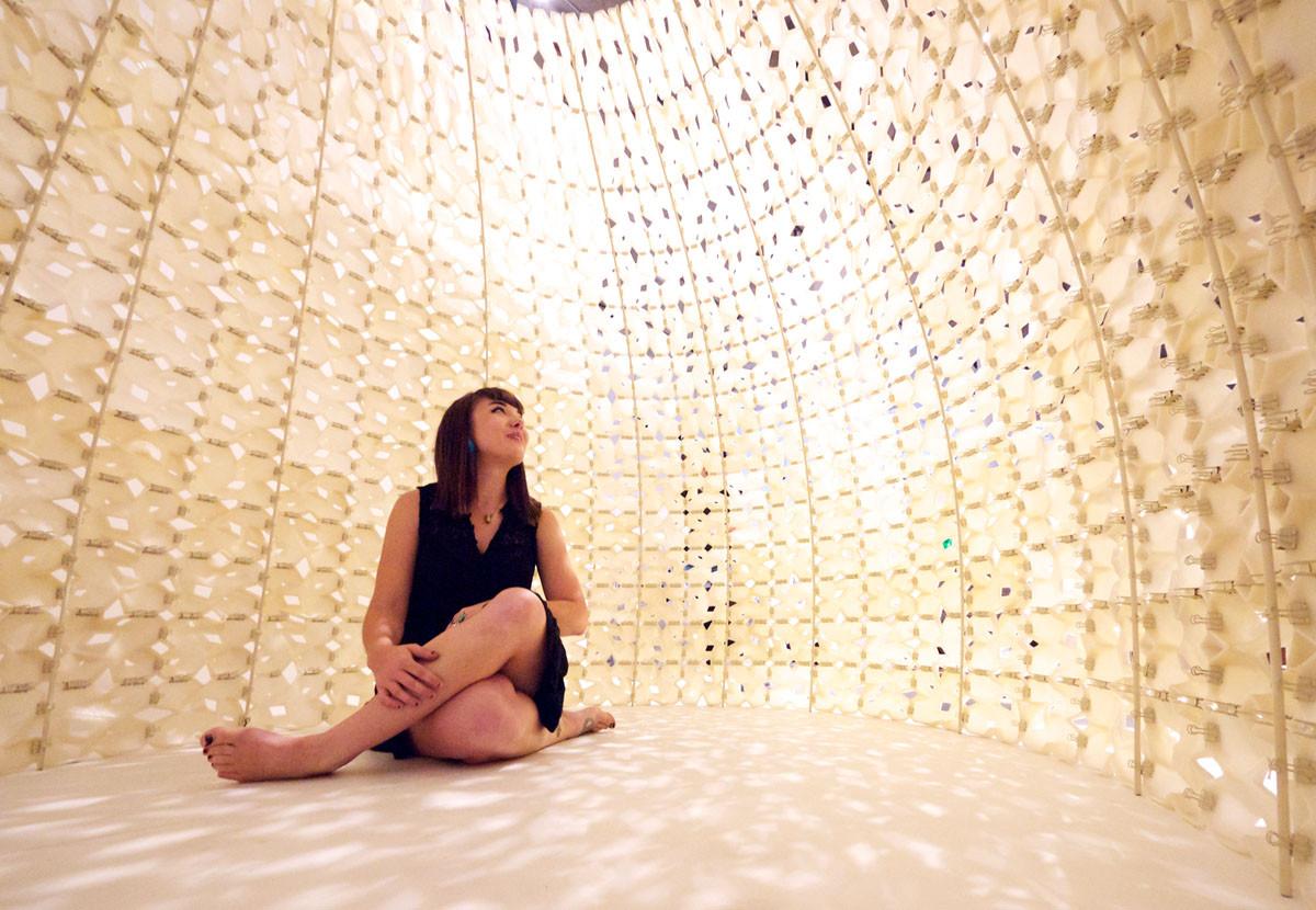 "The ""Saltygloo"" project is an igloo made of printed translucent modular salt panels. Image © Matthew Millman"
