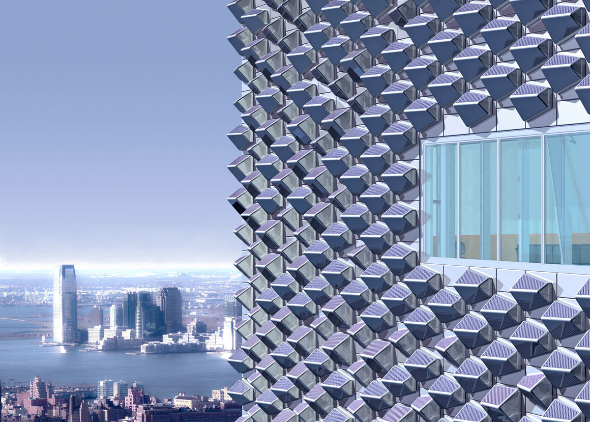 A rendering of an EcoCeramic cladding system as it would appear on a Manhattan high-rise. Image Courtesy of Kelly Winn and Berardo Matalucci, CASE RPI/SOM