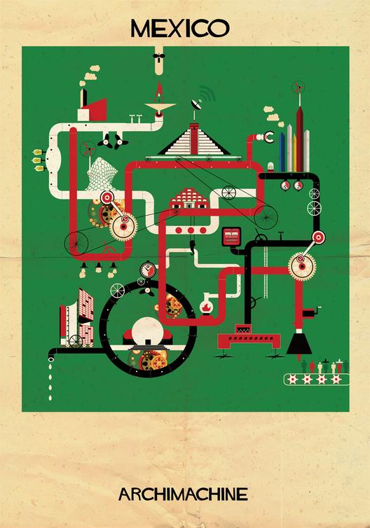 ARCHIMACHINE: 17 Países Ilustrados como Máquinas Arquitectónicas, © Federico Babina