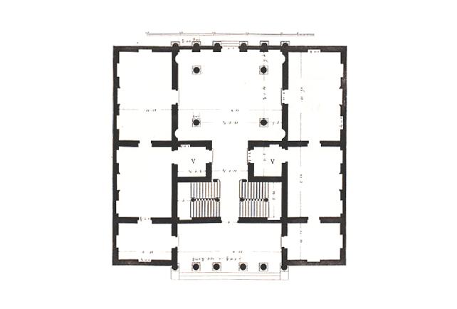 ¿Podrías identificar cuáles son los dormitorios y cuáles son los demás recintos?. Planta del Palazzo Antonini (circa 1556) de Andrea Palladio. Imagen © Ottavio Bertotti Scamozzi. Image © Ottavio Bertotti Scamozzi