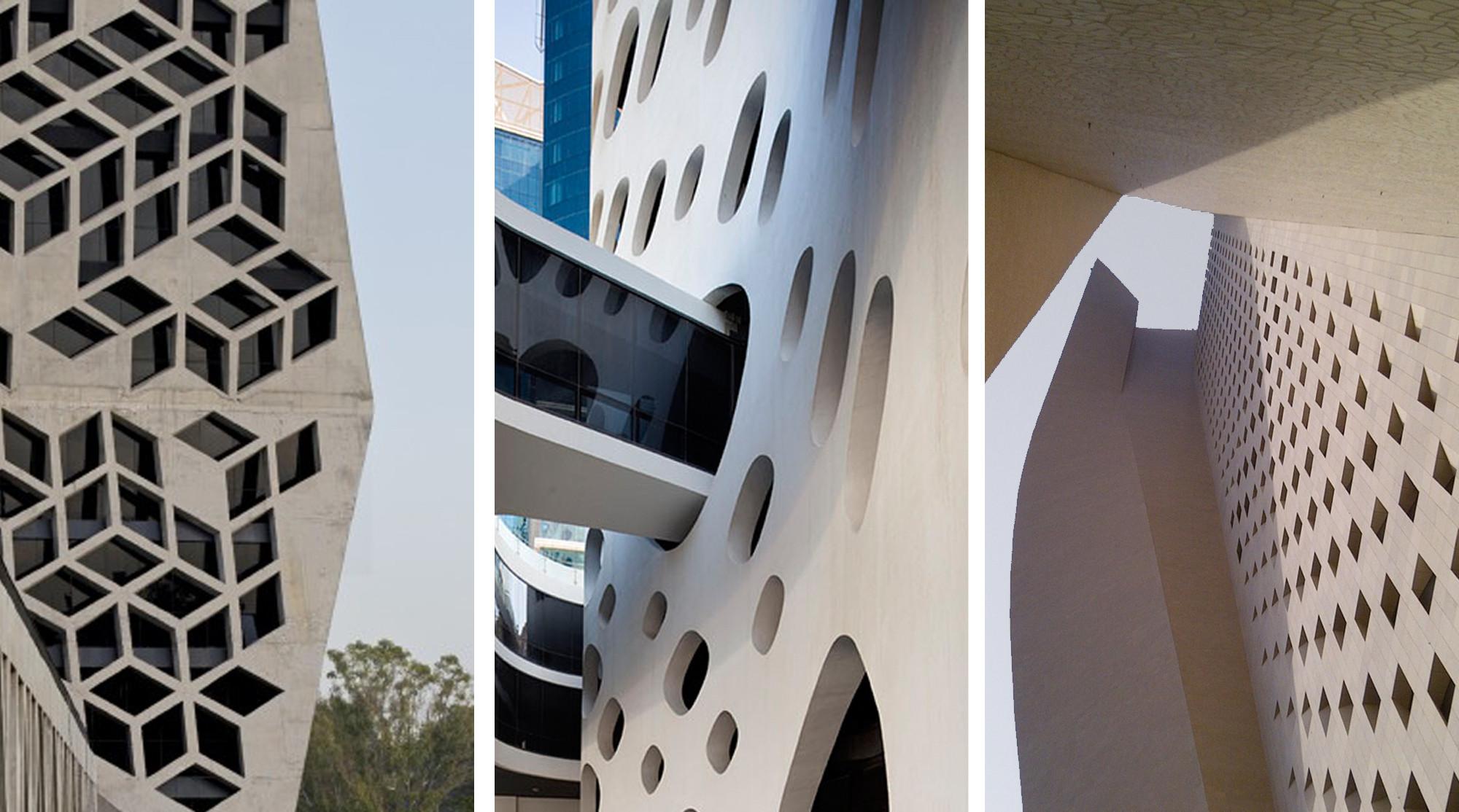 Edificios: Fachadas de hormigón perforado