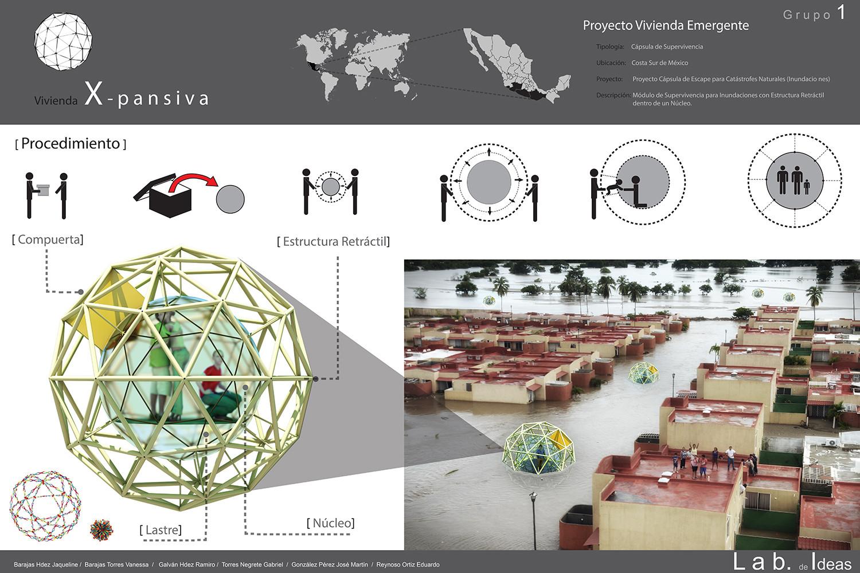 Resultado del Taller Laboratorio de Ideas 2014 / Vivienda Emergente, Equipo 1 / Proyecto X-pansiva, ganador del Taller de Ideas