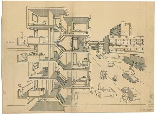 Housing scheme Lekkumerend in Leeuwarden The Netherlands, 1962, collection Het Nieuwe Instituut, BROX_1337t339- 1, Van den Broek en Bakema Architects