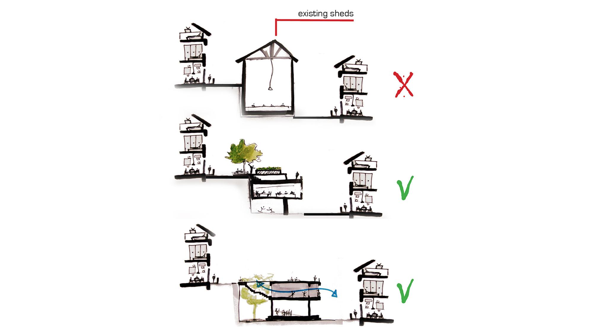 Estrategia: reubicación de las actividades y rediseño de los espacios comunitarios en armonía con las casas. Image Courtesy of Mariana Morais Luiz