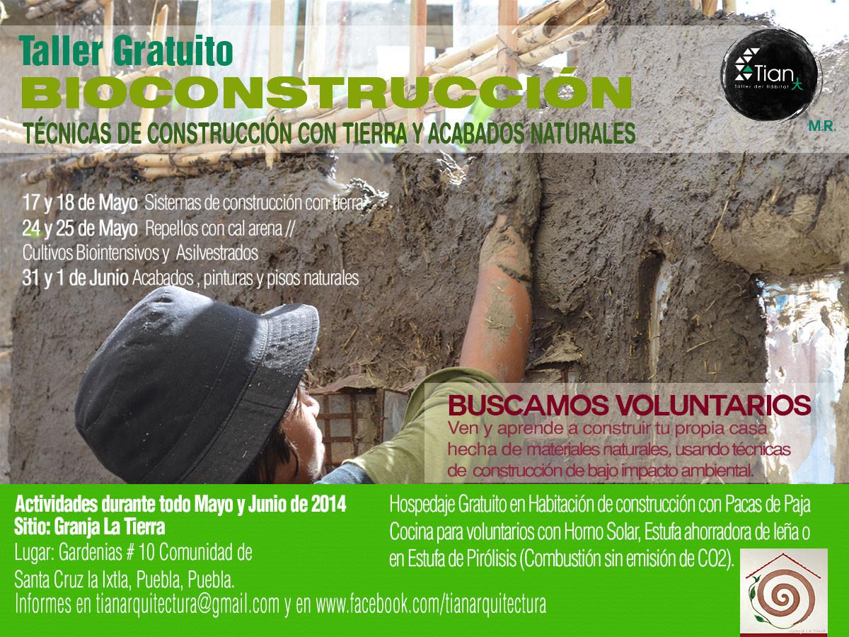 Taller gratuito Bioconstrucción: Técnicas de construcción con tierra y acabados naturales / TIAN