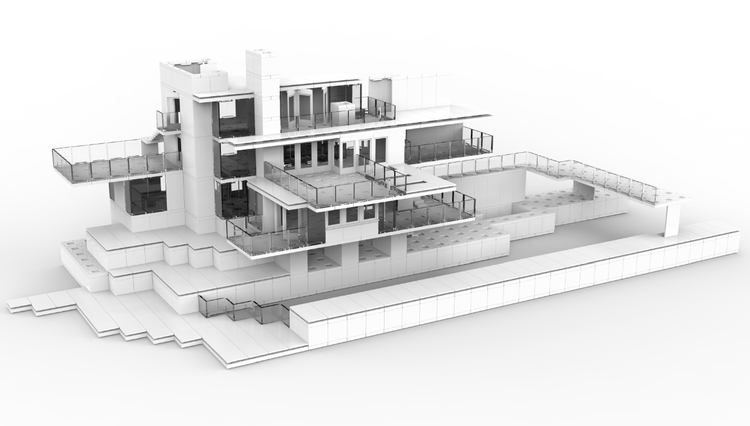 Frank Lloyd Wright's Fallingwater reconstructed with Arckit. Image Courtesy of Arckit