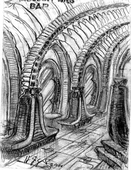 Croquis del Giger Bar en Château St. Germain, Gruyères, Suiza, 2002.. Image Courtesy of Giger Museum