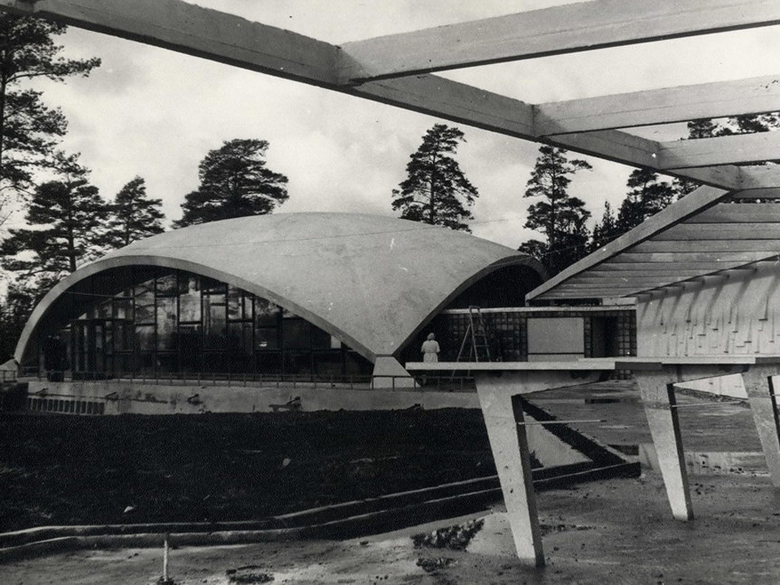 "Restaurant ""Sēnīte"" (1967); Vidzeme highway 37.km / Linards Skuja, Andris Bite, G. Grīnbergs, R. Ozoliņš - Courtesy of The Museum of Architecture of Latvia"