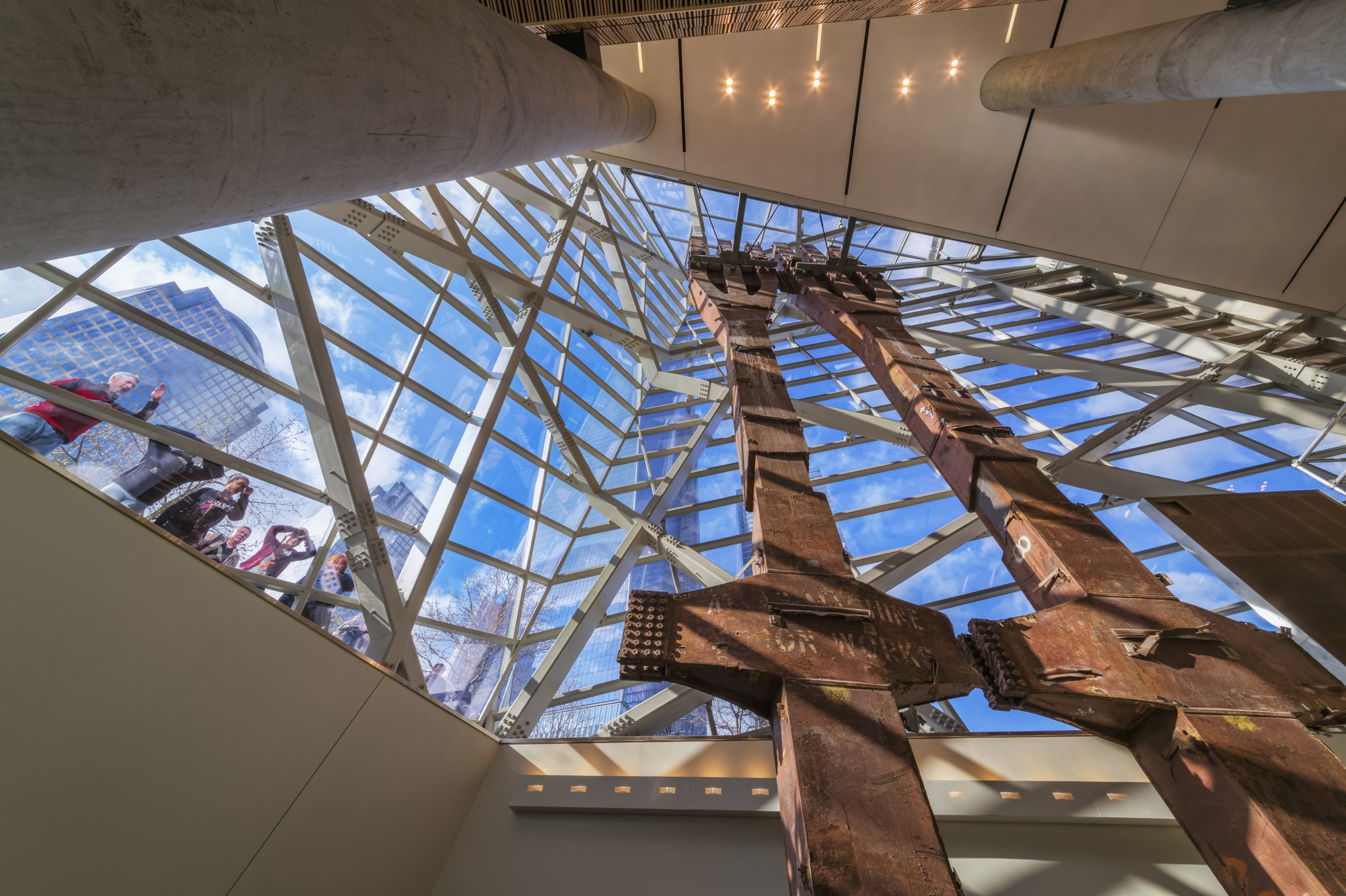 Critical Round-Up: The September 11 Memorial Museum, Two salvaged columns from the towers, placed inside Snøhetta's entrance building. Image © Jeff Goldberg / ESTO