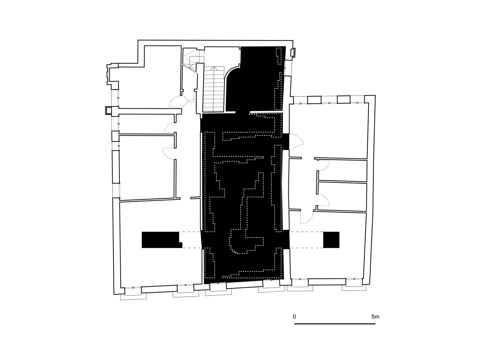 Distribución interior del Pabellón. Imágen © Michael Hadjistyllis, Stefanos Roimpas / Anatomía histórica mediante un collage (2014)