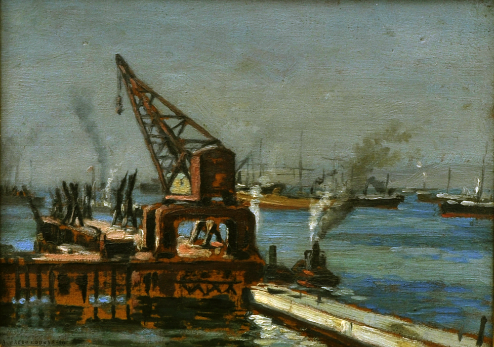 Muelle fiscal de Valparaíso  Alfredo Lobos (Chile, 1890-España, 1917)  Óleo sobre tela  24 x 34 cm  Colección Pinacoteca Universidad de Concepción. Image Courtesy of Centro Cultural La Moneda