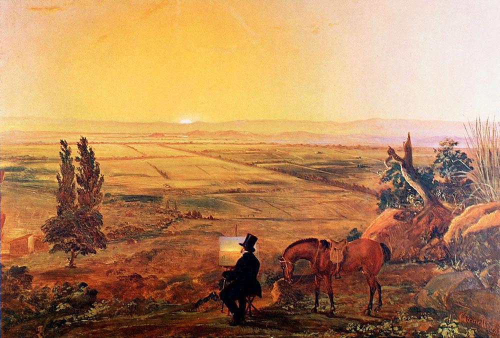 Vista de Santiago desde Peñalolén,1853  Alessandro Ciccarelli (Italia, 1808- Chile, 1879)  Óleo sobre tela 74 x 92 cm  Colección Banco Santander. Image Courtesy of Centro Cultural La Moneda