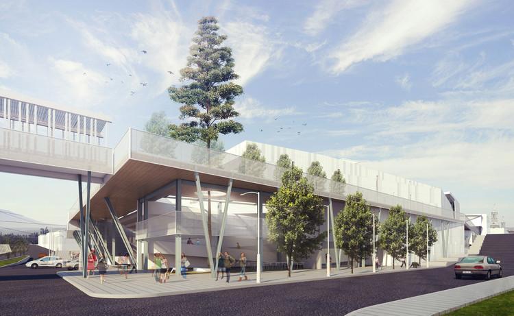 Estación de intercambio desde la calle San Agustín. Image Cortesía de Claudia Oviedo Valcárcel y Ronald Soto Mendieta
